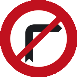 Traffic sign of Malaysia: Turning right prohibited