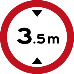 Traffic sign of Malaysia: Vehicles higher than indicated prohibited