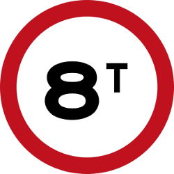 Traffic sign of Malaysia: Vehicles heavier than indicated prohibited