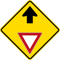 Traffic sign of Malaysia: Give way ahead
