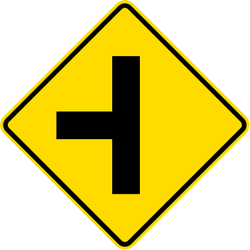 Traffic sign of Malaysia: Warning for an uncontrolled crossroad with a road from the left
