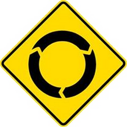 Traffic sign of Malaysia: Warning for a roundabout
