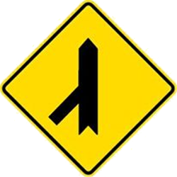 Traffic sign of Malaysia: Warning for a crossroad with a sharp side road on the left