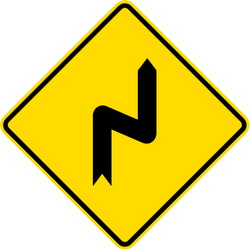 Traffic sign of Malaysia: Warning for a double curve, first right then left