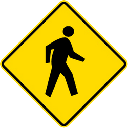 Traffic sign of Malaysia: Warning for pedestrians