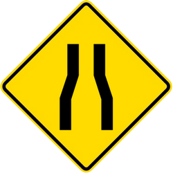 Traffic sign of Malaysia: Warning for a road narrowing