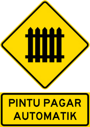 Traffic sign of Malaysia: Warning for a railroad crossing with barriers