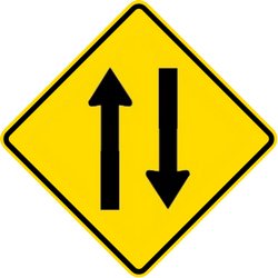 Traffic sign of Malaysia: Warning for a road with two-way traffic