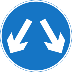 Traffic sign of Nepal: Passing left or right mandatory