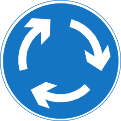 Traffic sign of Nepal: Mandatory direction of the roundabout