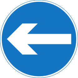 Traffic sign of Nepal: Mandatory left
