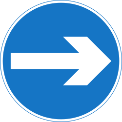 Traffic sign of Nepal: Mandatory right