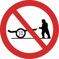 Traffic sign of Nepal: Handcarts prohibited