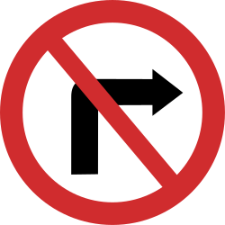 Traffic sign of Nepal: Turning right prohibited