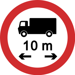 Traffic sign of Nepal: Vehicles longer than indicated prohibited
