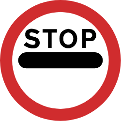 Traffic sign of Nepal: Entry prohibited (checkpoint)