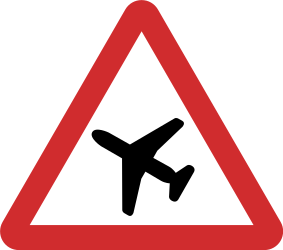 Traffic sign of Nepal: Warning for low-flying aircrafts