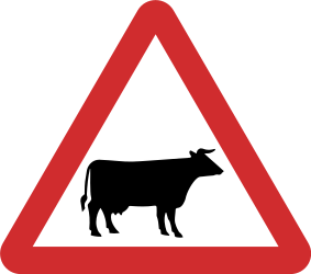 Traffic sign of Nepal: Warning for cattle on the road
