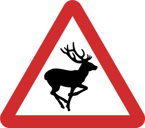 Traffic sign of Nepal: Warning for crossing deer