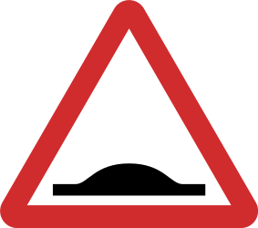Traffic sign of Nepal: Warning for a speed bump