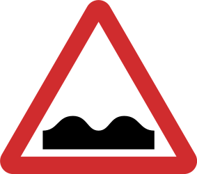Traffic sign of Nepal: Warning for a bad road surface