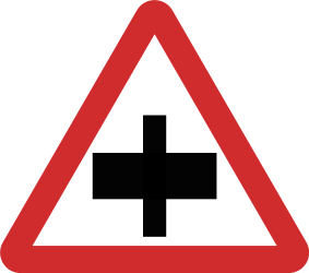 Traffic sign of Nepal: Warning for a crossroad, give way to all drivers