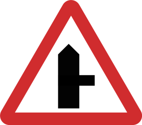 Traffic sign of Nepal: Warning for side road on the right
