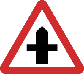 Traffic sign of Nepal: Warning for a crossroad side roads on the left and right