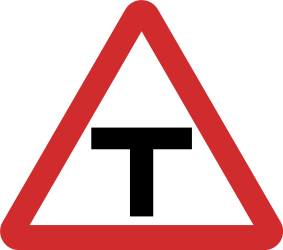 Traffic sign of Nepal: Warning for an uncontrolled T-crossroad