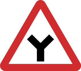 Traffic sign of Nepal: Warning for an uncontrolled Y-crossroad