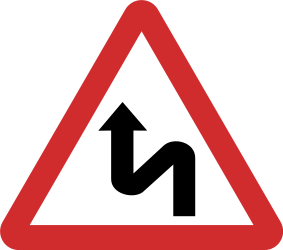 Traffic sign of Nepal: Warning for a double curve, first left then right