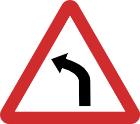 Traffic sign of Nepal: Warning for a curve to the left