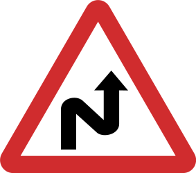 Traffic sign of Nepal: Warning for a double curve, first right then left
