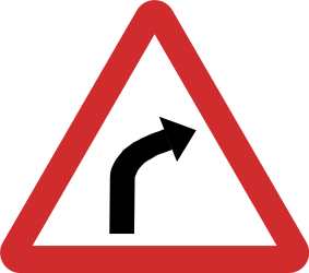 Traffic sign of Nepal: Warning for a curve to the right