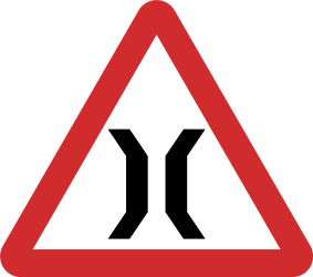 Traffic sign of Nepal: Warning for a narrowing