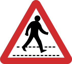 Traffic sign of Nepal: Warning for a crossing for pedestrians