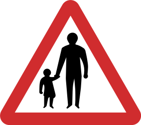 Traffic sign of Nepal: Warning for pedestrians