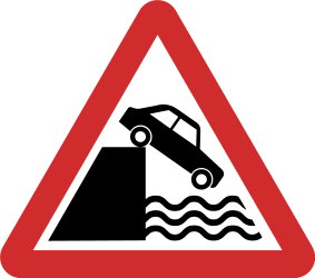 Traffic sign of Nepal: Warning for a quayside or riverbank