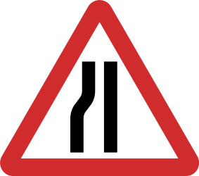 Traffic sign of Nepal: Warning for a road narrowing on the left
