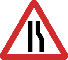 Traffic sign of Nepal: Warning for a road narrowing on the right