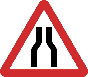 Traffic sign of Nepal: Warning for a road narrowing
