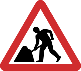 Traffic sign of Nepal: Warning for roadworks