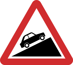 Traffic sign of Nepal: Warning for a steep ascent