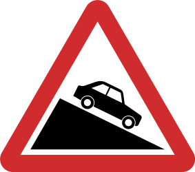 Traffic sign of Nepal: Warning for a steep descent