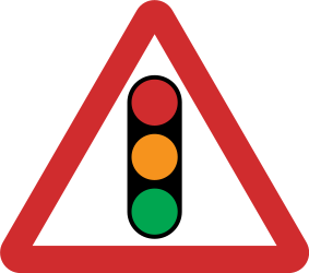 Traffic sign of Nepal: Warning for a traffic light