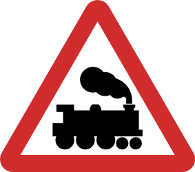 Traffic sign of Nepal: Warning for a railroad crossing without barriers