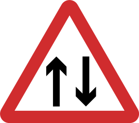 Traffic sign of Nepal: Warning for a road with two-way traffic