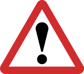 Traffic sign of Nepal: Warning for a danger with no specific traffic sign