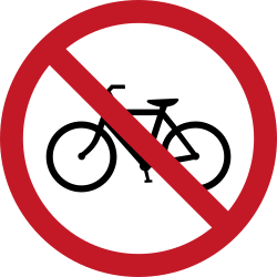 Traffic sign of Philippines: Cyclists prohibited
