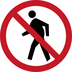 Traffic sign of Philippines: Pedestrians prohibited